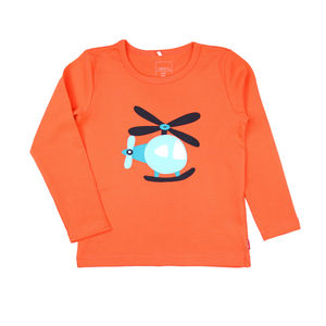Ben Helicopter Coral Long Sleeve T Shirt - babies' tops