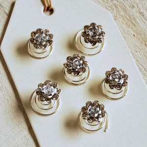 Set Of Six Diamante Rose Hair Pins - hair accessories