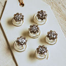 Set Of Six Diamante Rose Hair Pins