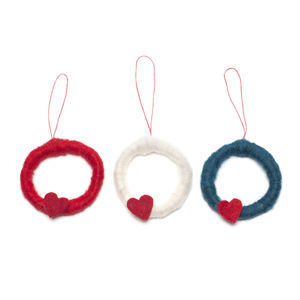 Handmade Felt Mini Wreath Set Of Three - tree decorations