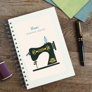 Personalised Sewing Machine Notebook - stocking fillers under £15