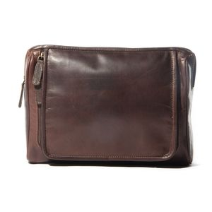Corsa Large Leather Wash Bag - men's grooming & toiletries