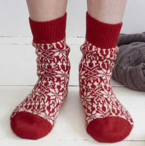 Organic Wool Fair Isle Christmas Socks - women's fashion