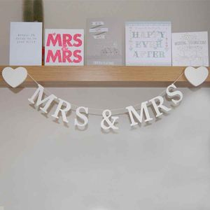 Mrs And Mrs Wooden Hanging Garland