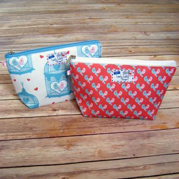 Lovebirds Pair and Cage Cosmetic Toiletry Wash Bag - Both designs
