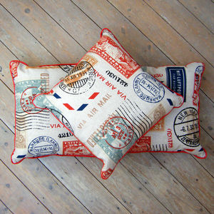 Airmail Postmark Stamp Cushion With Piped Edge - bedroom