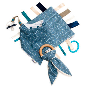 Boy's Bib, Organic Teether And Comforter Gift Set