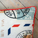 Airmail Postmark Stamp Cushion With Piped Edge