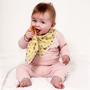 Girl's Dribble Bib And Organic Teether Set