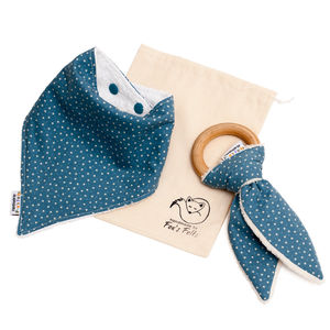 Boy's Dribble Bib And Organic Teether Set