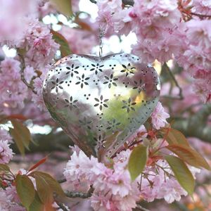 Hanging Heart Cut Out Flower T Light - votives & tea light holders
