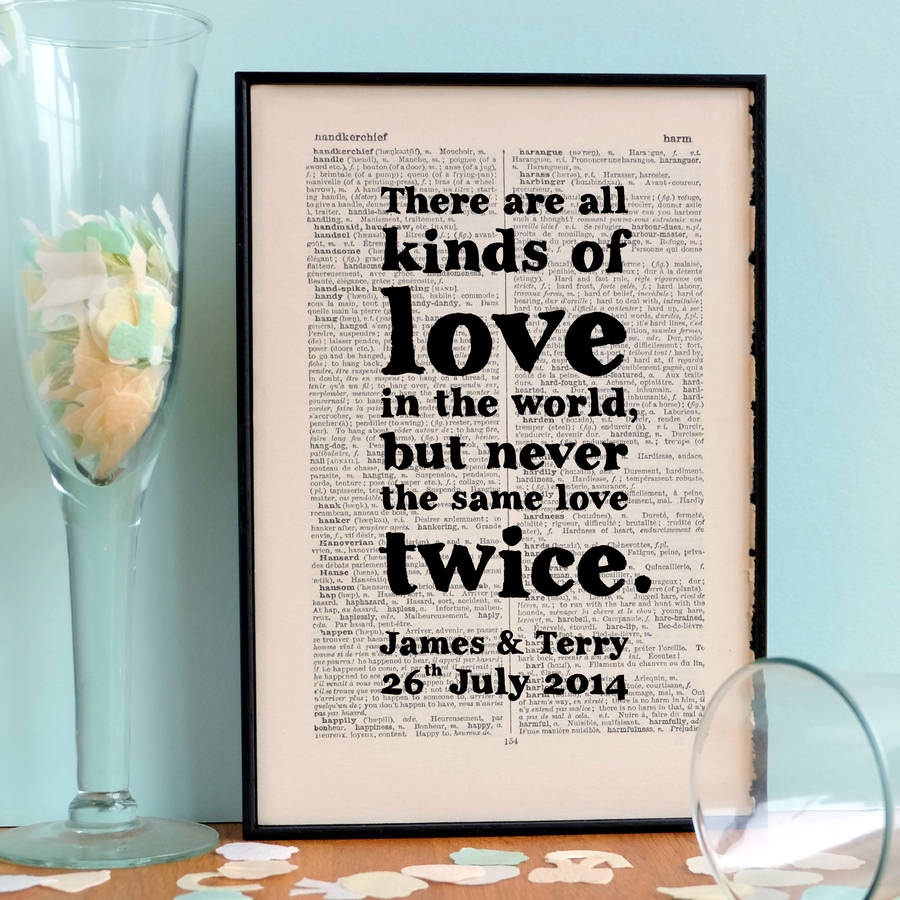 personalised wedding gift literary love quote by bookishly ...