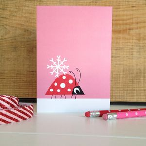 Christmas Ladybird And Snowflake Card - cards & wrap
