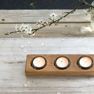 Tealight/Condiment Oak Runner - votives & tea light holders