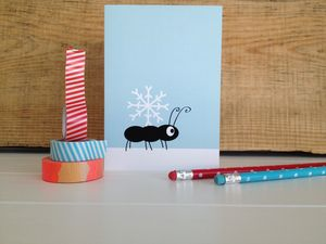 Christmas Snowflake And Ant Card - cards
