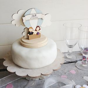 Personalised Hot Air Balloon Wedding Cake Topper
