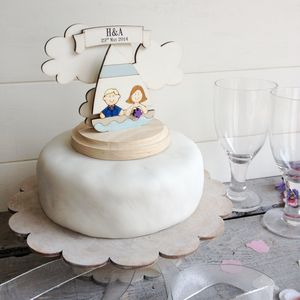 Personalised Sailing Boat Wedding Cake Topper - cake toppers & decorations