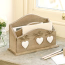 Home Office Letter Rack Desk Tidy With White Hearts