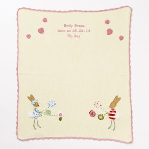 Personalised Cotton Bunny Baby Blanket
