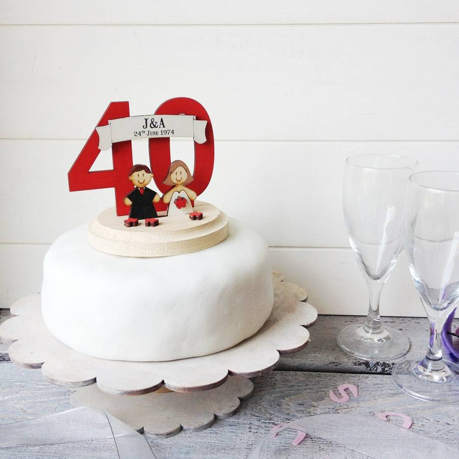 Personalised wedding anniversary cake topper by just