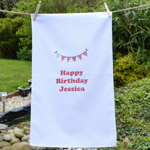 Personalised 'Birthday' Bunting Tea Towel - kitchen