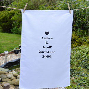 Personalised 'Anniversary' Tea Towel - kitchen linen