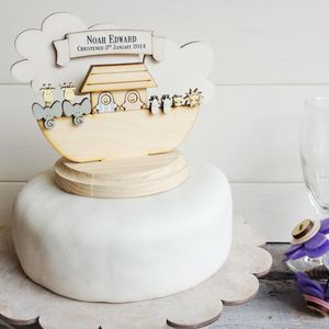 Personalised Noah's Ark Christening Cake Topper - parties