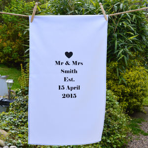 Personalised 'Mr And Mrs' Tea Towel - cooking & food preparation