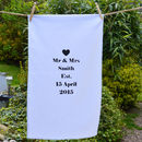 Personalised 'Mr And Mrs' Tea Towel