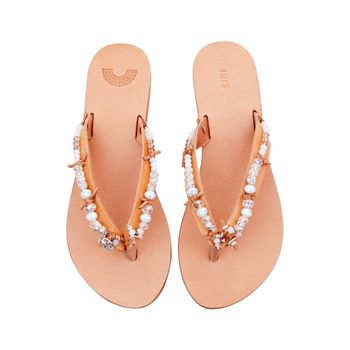 Bridal Hand Embellished Leather Sandals