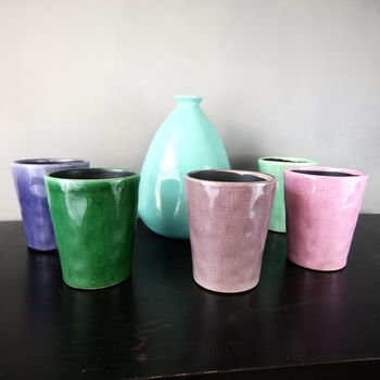 Coloured Crackle Glaze Planter