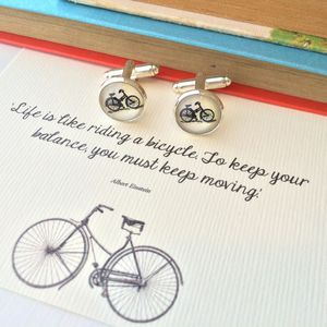 Einstein Quote Bicycle Cufflinks - men's jewellery