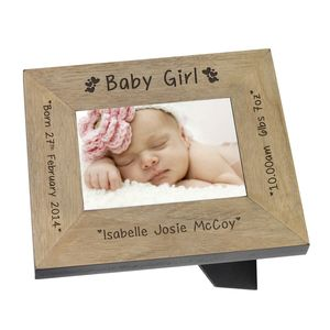 Baby Girl Personalised Keepsake Frame - picture frames