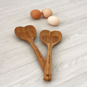 Set Of Two Wooden Heart Spoons - gifts for the home