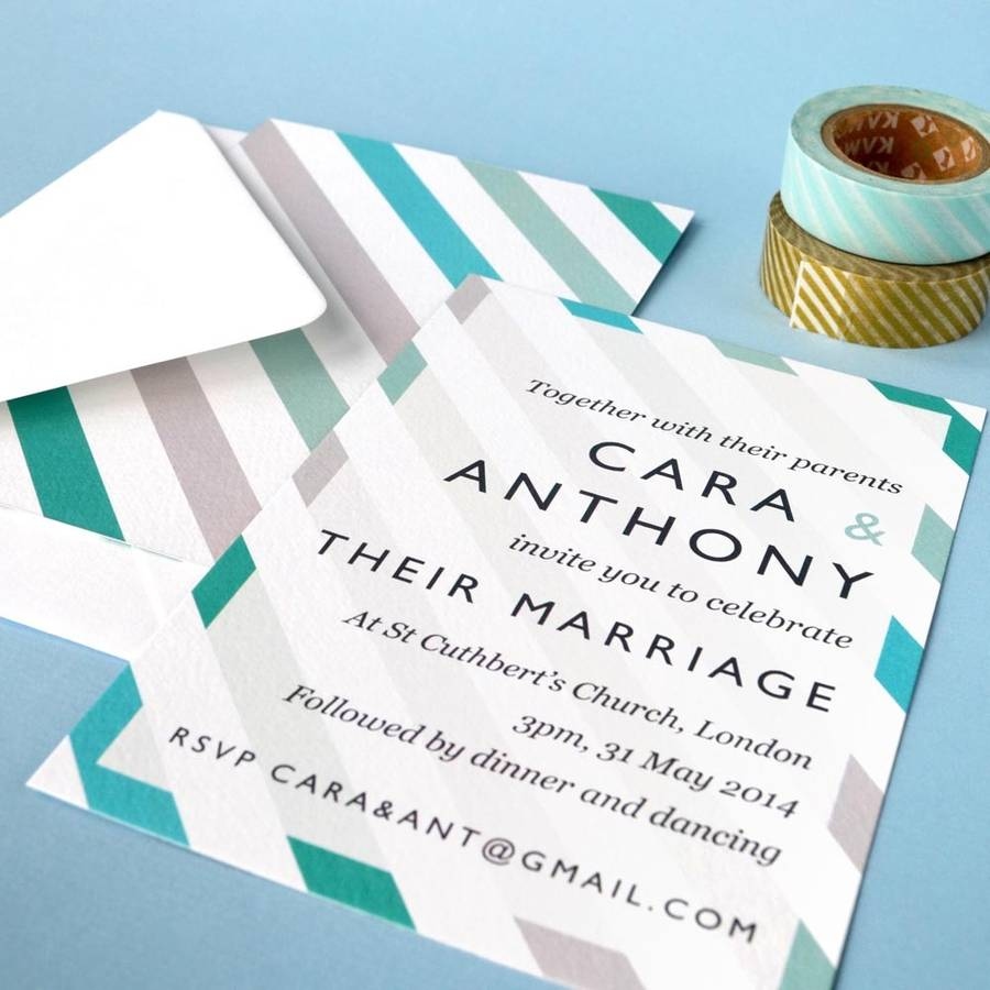 Personalised Stripe Wedding Invitation by PAPER ARROW PRESS