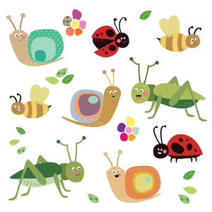 Fabric Insect Wall Stickers - wall stickers