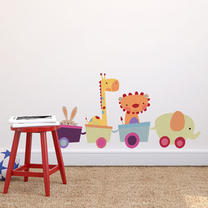 Fabric Animal Toy Train Wall Sticker - wall stickers