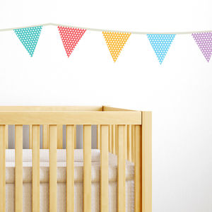 Fabric Patterned Bunting Wall Stickers - bedroom