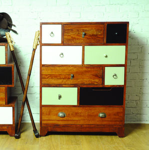 Tall Mismatched Vintage Set Of Drawers - bedroom