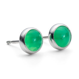 Silver Chrysoprase Gemstone Studs - women's jewellery