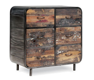 Boatwood Vintage Wood Chest - living room