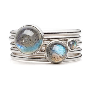 Storm Sterling Silver And Labradorite Stacking Rings