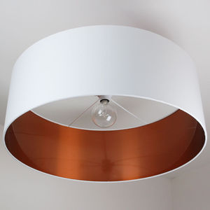 Oversize Brushed Copper Lined Ceiling Shade - living room