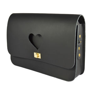 Hettie Heart Cut Out Satchel In Black - cross-body bags