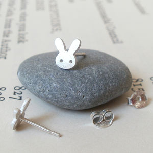 Bunny Rabbit Earring Studs In Sterling Silver - earrings