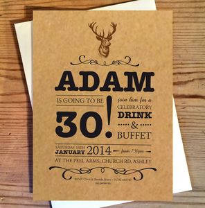 Stag Birthday Invitations - adults party invitations