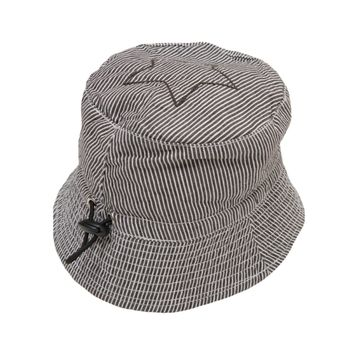 Cotton Striped Sun Hat With Adjustable Drawstring