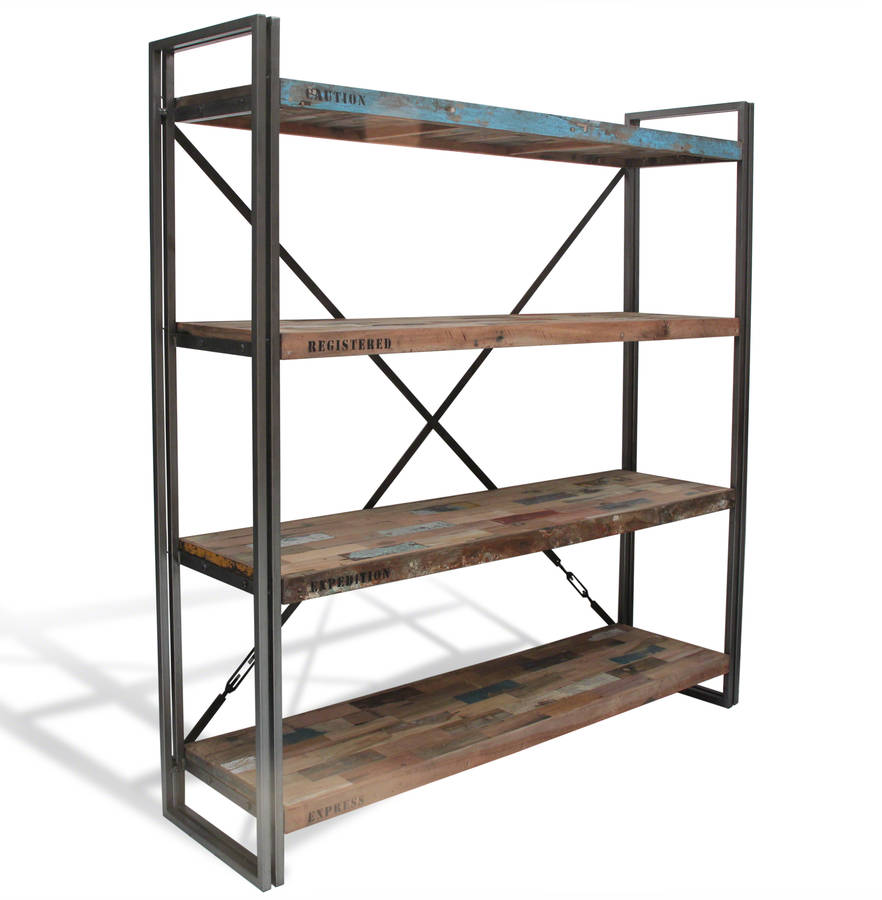 boatwood industrial shelves bookcase by made with love. Black Bedroom Furniture Sets. Home Design Ideas