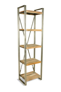 Boatwood Slim Industrial Shelves Bookcase - dining room