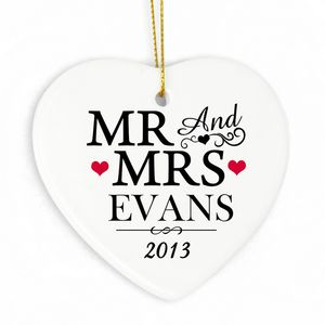 Mr And Mrs Personalised Ceramic Wedding Heart